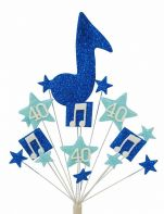 Music notes 40th birthday cake topper decoration in shades of blue - free postage
